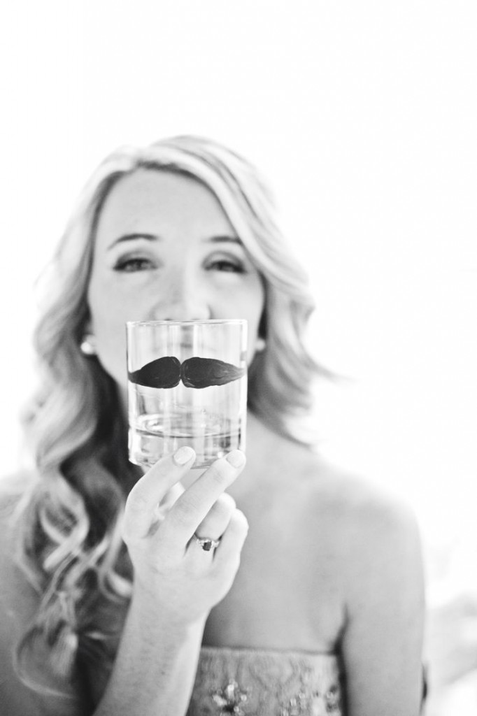 How adorable is this bride?! Make your own mustache cup here.